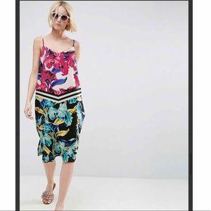 ASOS Midi Cami Slip Dress in Tropical Print Multi